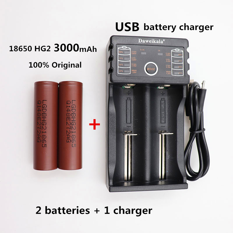 купить 100% Original ForLG HG2 18650 battery 3000mAh 3.6V discharge 20a, Dedicated electronic cigarette battery power+1 charger по цене 374.46 рублей