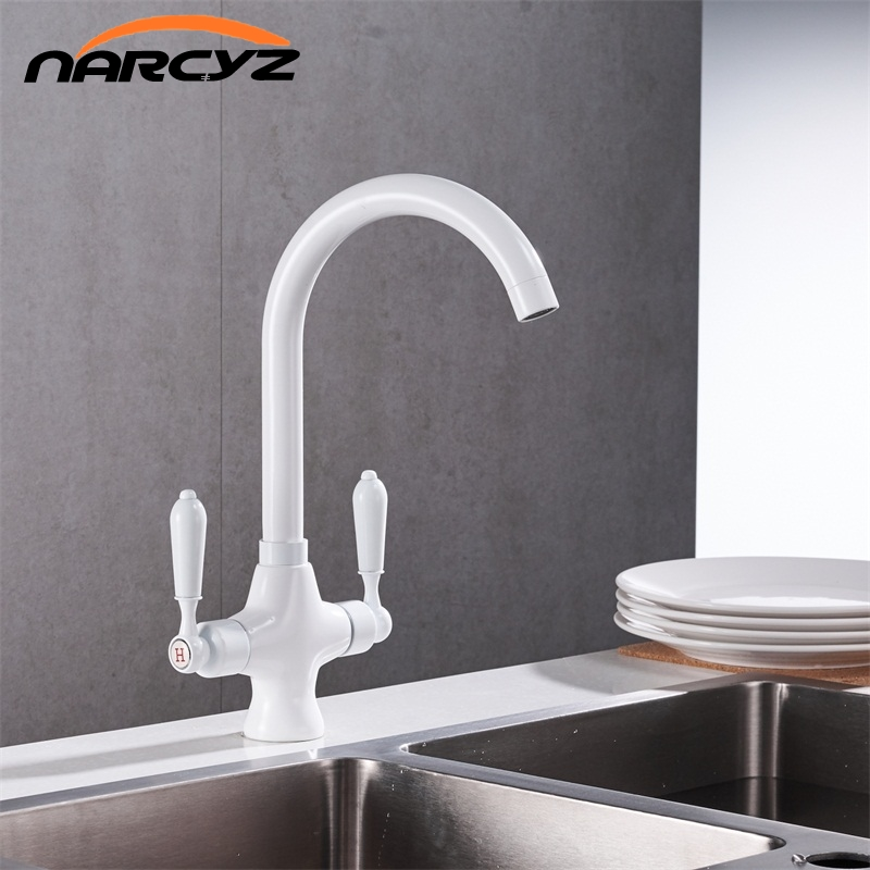 Free Shipping White paint double handle kitchen mixer deck Kitchen faucet Sink Mixer HOT and COLD