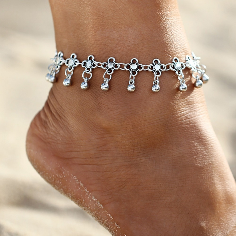 Jewelry Sets & More Gold Silver Color Flower Pattern Water Drop Anklet Bracelet On The Leg 2017 Summer Fashion Foot Jewelry Chain On Feet Tobilleras