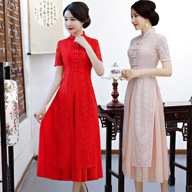 Cheongsams Novelty & Special Use 2018 New High Fashion Red/pink Chiffon Cheongsam Aodai Chinese Classic Womens Qipao Elegant Short Sleeve Novelty Long Dress