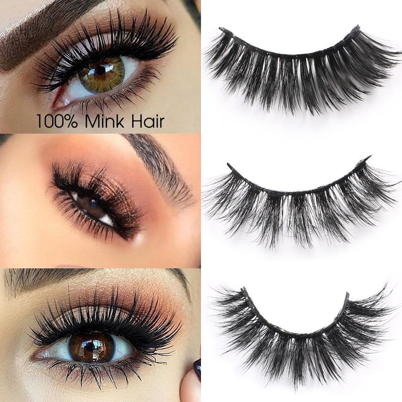 1 Box 3D Mink Eyelashes Extensions Long Natural Mink False Eyelashes Hand Made Full Strip
