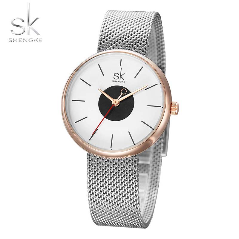 Watches Women SK New Fashion Brand Causal Wrist Watches Women Stainless Steel Mesh Quartz Clock Ladies Wristwatch Relojes Mujer