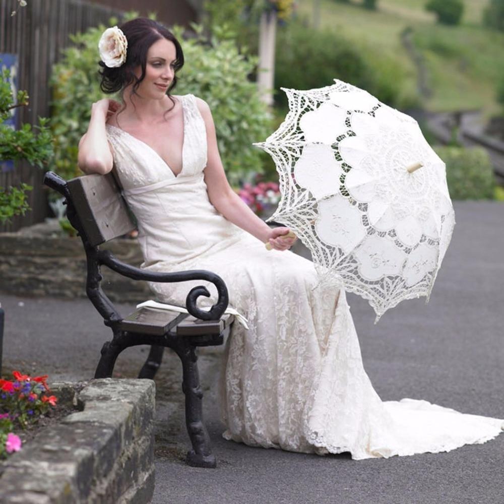 White Wedding Lace Parasol Umbrella Victorian Lady Costume Accessory ...