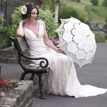 White Wedding Lace Parasol Umbrella Victorian Lady Costume Accessory Bridal Party Decoration Photo Props-L1