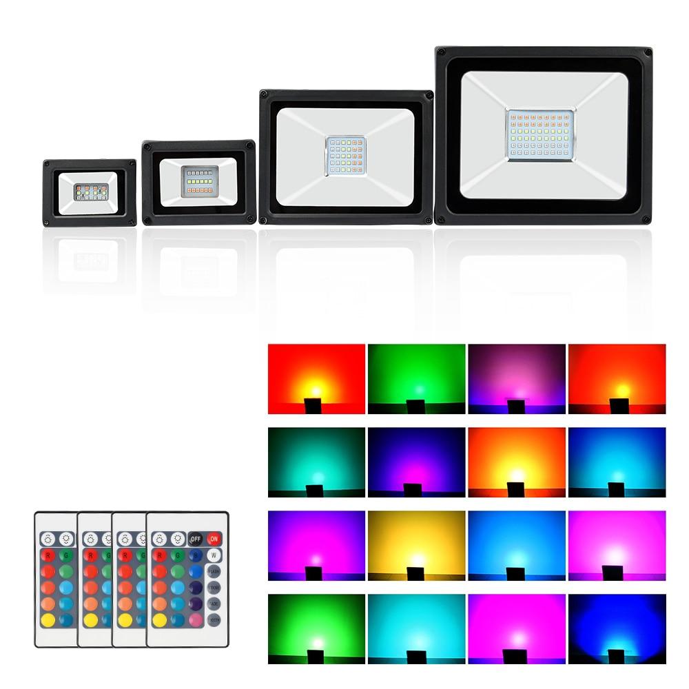 Holofote led rgb para áreas externas, 10w 20w 30w 50w ac 220v, refletor com controle remoto colorido