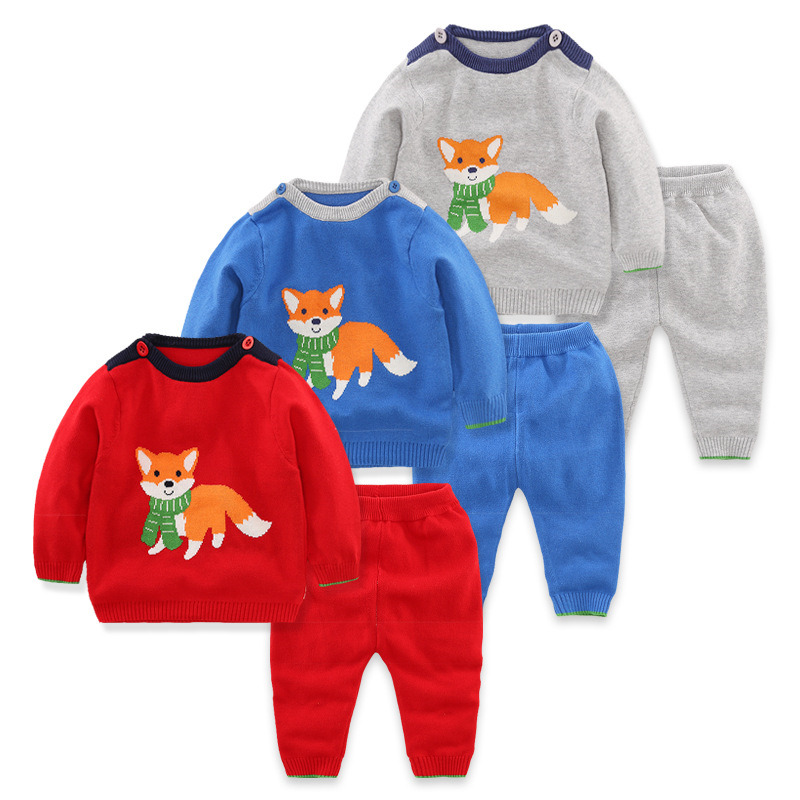 Baby Sets 2017 Autumn New Brand Fashion Design Cotton Knitted Sweater Suit For Baby Boy Set Kids Neonatal Casual Clothes