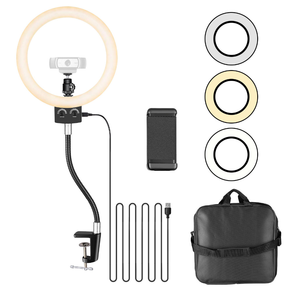 Neewer 8.9 inches Webcam Light for Logitech Webcam Dimmable USB LED Ring Light with Flexible Stand and Phone HolderNeewer 8.9 inches Webcam Light for Logitech Webcam Dimmable USB LED Ring Light with Flexible Stand and Phone Holder