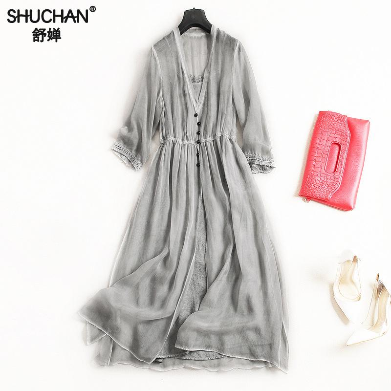 SHUCHAN Gray Sexy Woman Dress Party Club Natural Silk Elegant Clothes For Women Elegant Clothes Dresses Of High Quality 2049