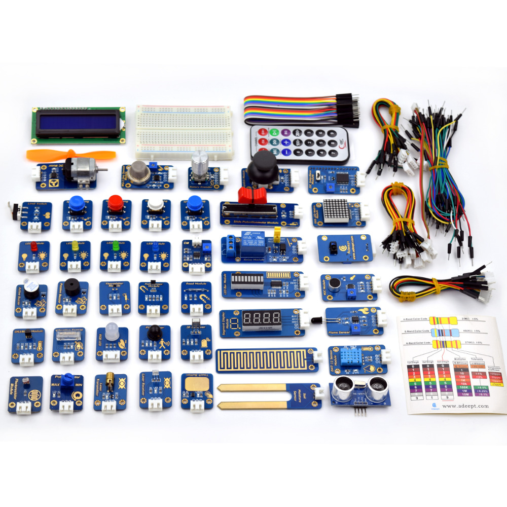 Adeept New 42 Sensor Modules Ultimate Sensor Starter Kit for Arduino UNO R3 Processing Free Shipping Book diykit  Electric kitAdeept New 42 Sensor Modules Ultimate Sensor Starter Kit for Arduino UNO R3 Processing Free Shipping Book diykit  Electric kit