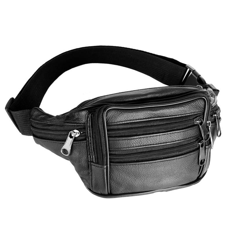New Genuine Leather Waist Bag Men Business Waist Pack Black Funny Pack Belt Bag Men Phone Pouch Travel Chest Bags