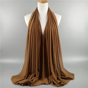 Image 4 - Hot 15PCS/LOT Very Good Quality Plain Bubble Chiffon Scarf Muslim Hijab Girl Headwear Wraps Solid Color Shawls Scarves