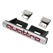 Quattro Front Grille Emblem Badge Chrome Metal+Plastic ABS Front Grill Mount for Audi A3 A4 A5 A7 S3 S4 S5 S6 S8 C6 Car Styling