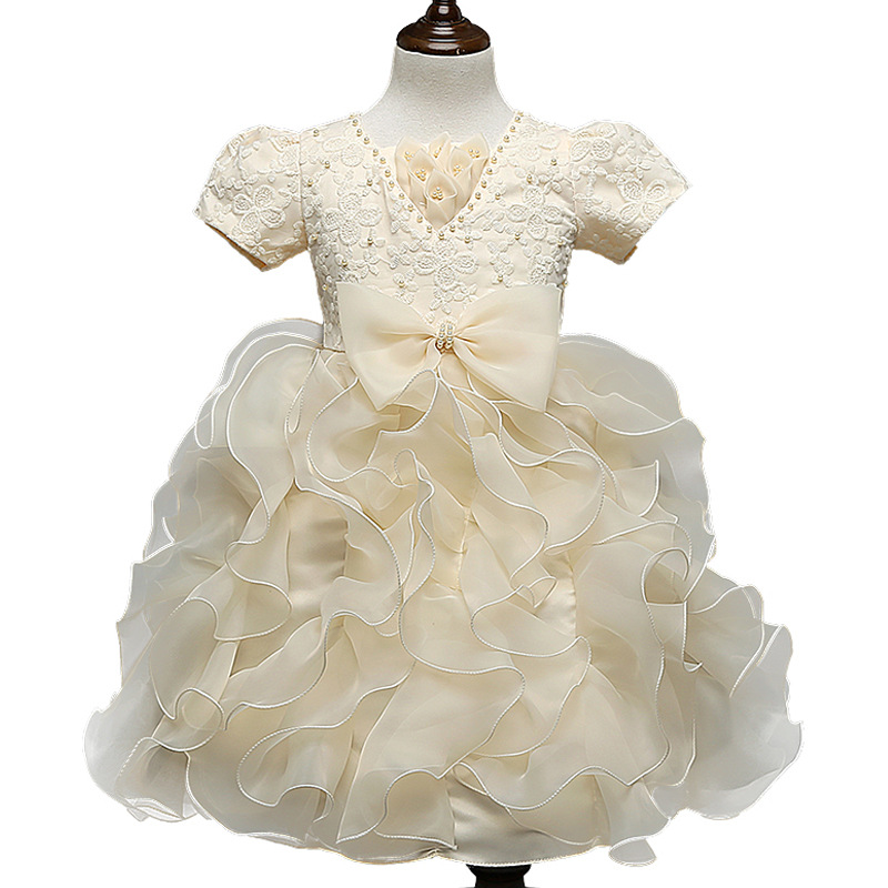 New Brand Flower Girl Christening Wedding Party Pageant Dress Gowns Child Bridesmaid Clothing vestido handmade christening wedding party pageant dress baby first communion toddler gowns child bridesmaid ballet dress
