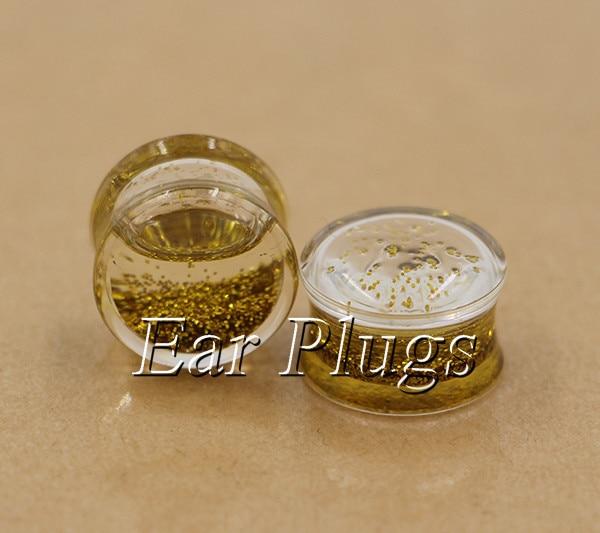 1 pair liquid gold glitters ear plug gauges transparent acrylic flesh tunnel body piercing jewelry PLP0002
