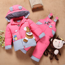 Free Shipping 10 24M Down Jacket for Girl Baby snowsuit Boys Winter Coat Kids Clothing Set