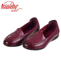 Xiuteng National Style Flower Print Summer Flats Slip On Loafer For Women Mother Work Shoes For