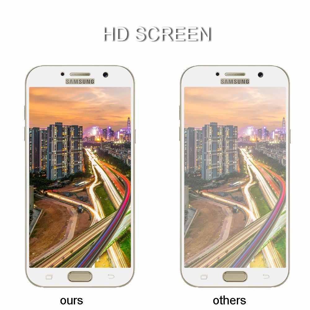 Layar penuh Penutup ledakan-bukti Tempered Kaca Film untuk Samsung Galaxy A3 A5 A7 2016 2017 C5 C7 C9 Pro On5 On7 J5 J7 Prime