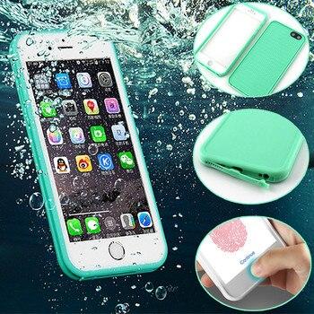 Lujo 360 impermeable carcasa para iPhone 6 6s 8 Plus 5 5S 5SE X TPU + PC impermeable pantalla teléfono táctil funda para el iPhone 7 7Plus