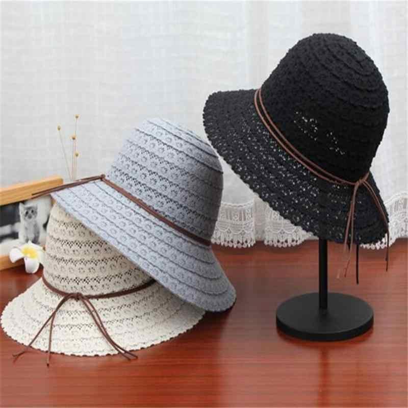 الدانتيل القش قبعة قناع قبعة الشمس الصيف الشاطئ واقية من الشمس قبعة للنساء سيدة الفتيات (الوردي)