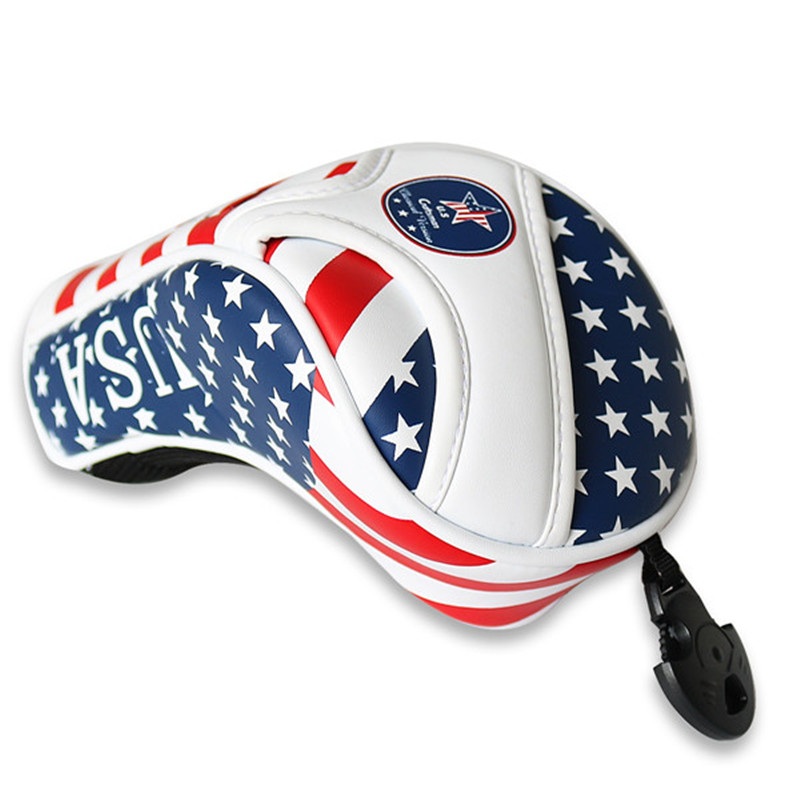 USA Flag Thick PU Leather Golf UT Cover Headcover Golf Hybrid Headcover Utility Rescue Number Tag