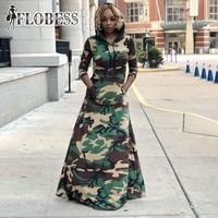 Fashion Hooded Camouflage Print Dress Women 2018 Winter Club Dresses Femme Casual Loose Long Dress Big Swing Vestido