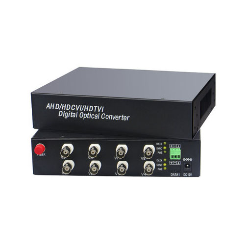 1pair 8CH 1080P AHD CVI Coaxial Video Data Fiber Media Converters FC/Single Mode