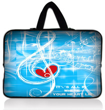 Retail Sale Free Shipping Music Heart 13″ Laptop Neoprene Sleeve Bag Case Pouch For 13.3″ Apple Macbook Pro,HP Folio