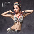 New 2016 Tribal Belly Dance Chain Bra Metallic Studs Push Up Bra B/C CUP Vintage Coins Bras Tribal Dance Tops