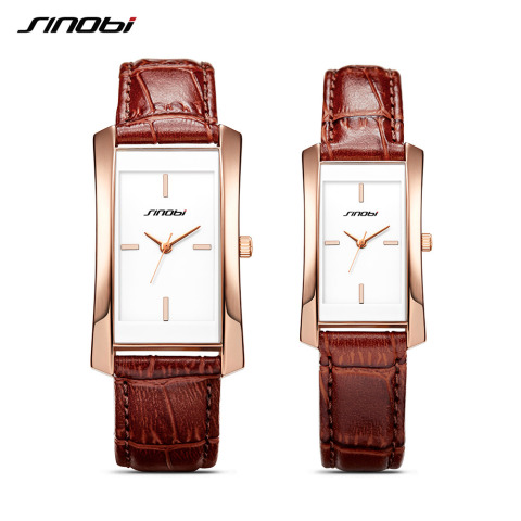 Sinobi Couple Watches Wedding Gift Noble Rose Gold Rectangle Wristwatch Brown Strap Men Women Analog Quartz Lovers Watch Fashion Karachi