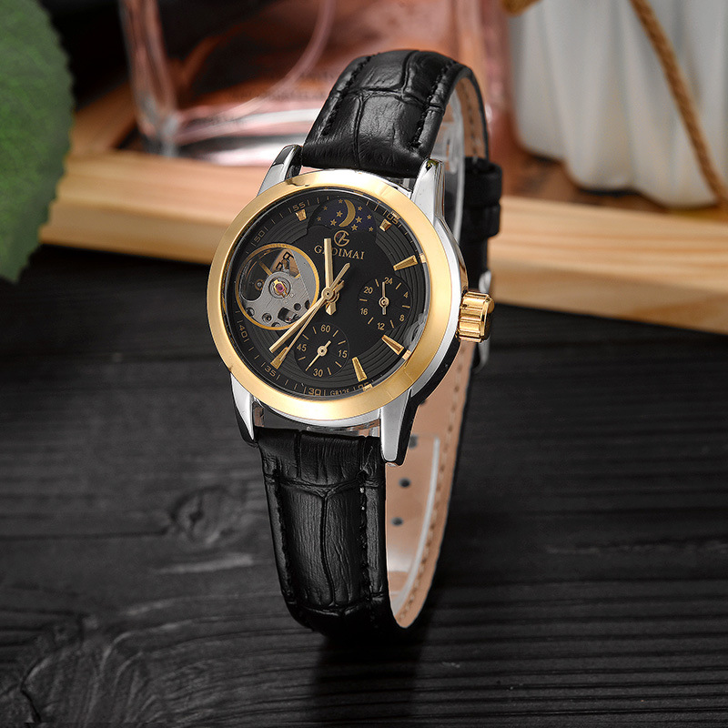GEDIMAI Fashion Women Bracelet Watches Top Brand Luxury Ladies Automatic Mechanical Hollowing Watch Clock Relogio Feminino