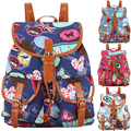 New New New 2017 Beautiful Printing Canvas Drawstring Rucksack Mochila Feminina Escolar School Bag for Teenage Girls Bag Pack