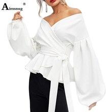 Aimsnug Solid White Fairy Shirt Tops Long Sleeve Lantern Slim Fit Bandage Bow Slash Neck Ruffle 2019 Autumn Women Blouse