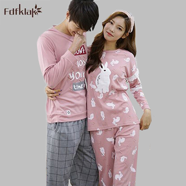 7acd300d4e Couple Pajama Long Sleeve Women Or Men s Pijamas Cotton Sleepwear Plus Size  Autumn Winter Pyjama Coton Pajamas Set XXL E0402-in Pajama Sets from Women s  ...