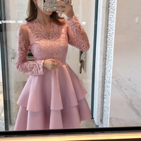 V neck Mesh Embroidery Patchwork Ball Gown Dress Vintage Long Sleeve Lace Cupcake Dresses Autumn Ladies Fashion Party Club Dress