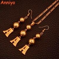 Anniyo (A Z) color oro alfabeto pendientes collar inicial para las mujeres inglés carta joyería regalos #112006