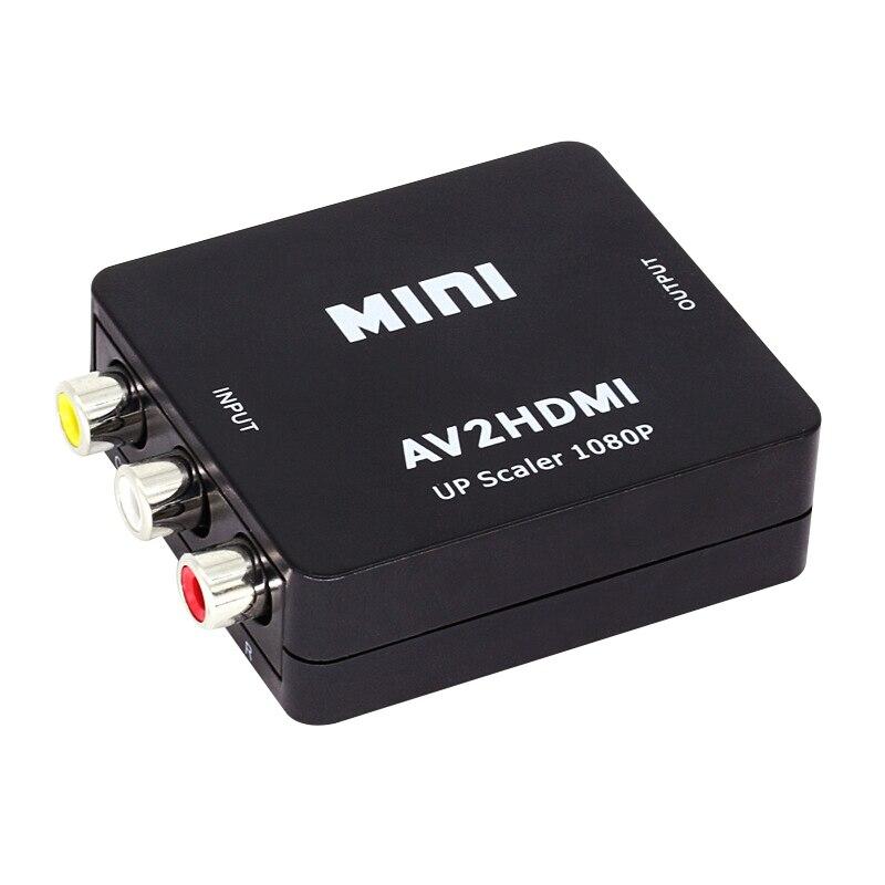 Mini av para hdmi conversor de vídeo caixa av2hdmi rca av hdmi cvbs para hdmi adaptador para hdtv tv ps3 ps4 pc dvd xbox projetor