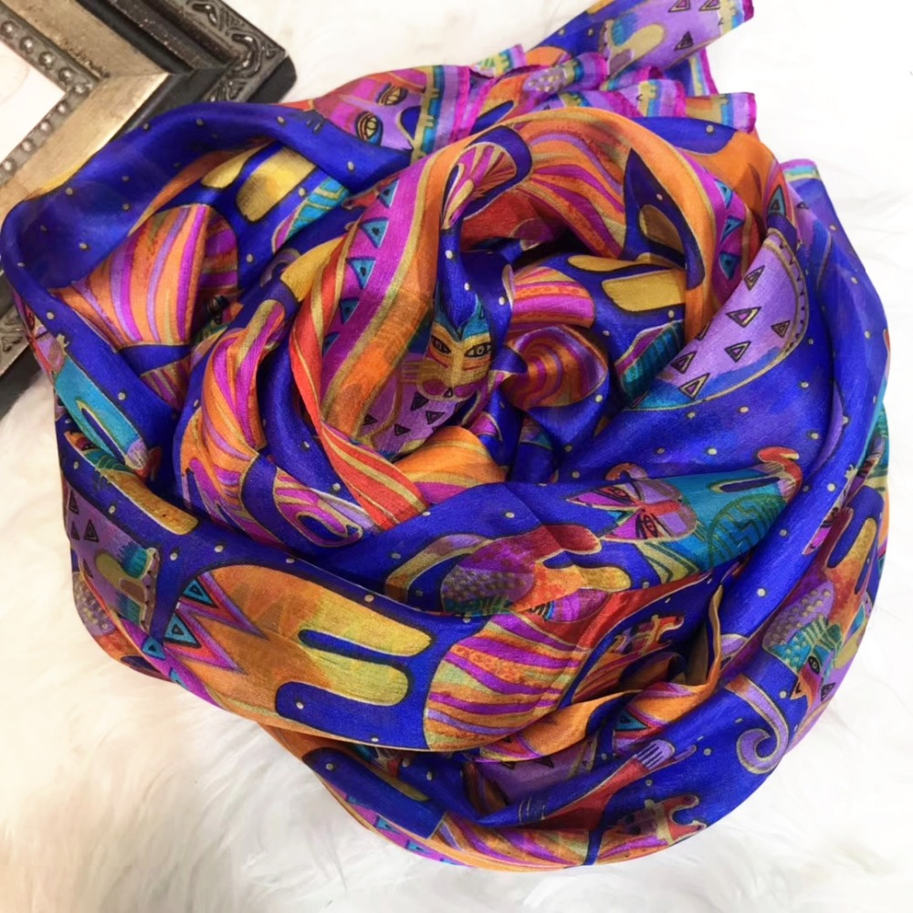 [BYSIFA] New Winter Cartoon Cat 100% Silk Scarf Shawl Fashion Brand Dark Blue Women Long Scarves Wraps Spring Autumn Neck Scarf