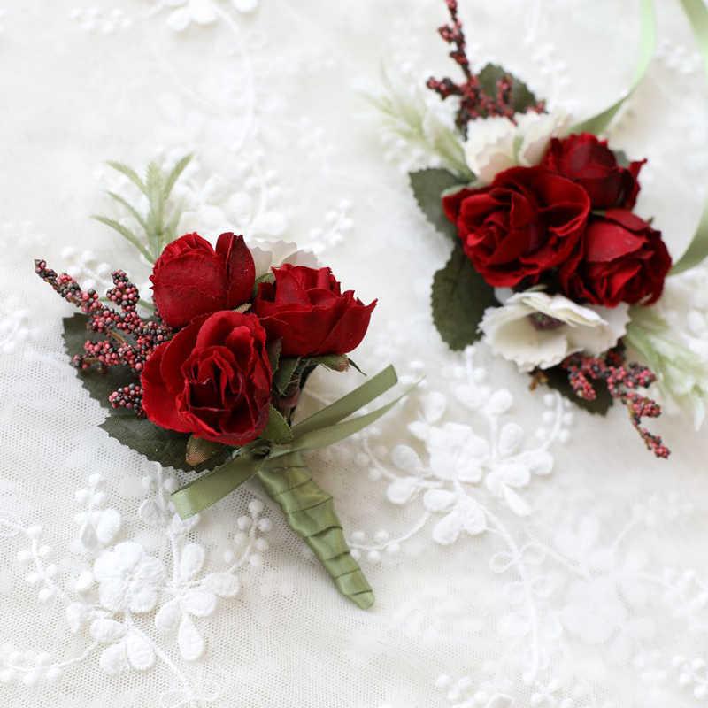 ハイト品質結婚式のコサージュと Boutonnieres シルクコサージュローズウエディングドレス 2019 ロングリボン人工手首の花
