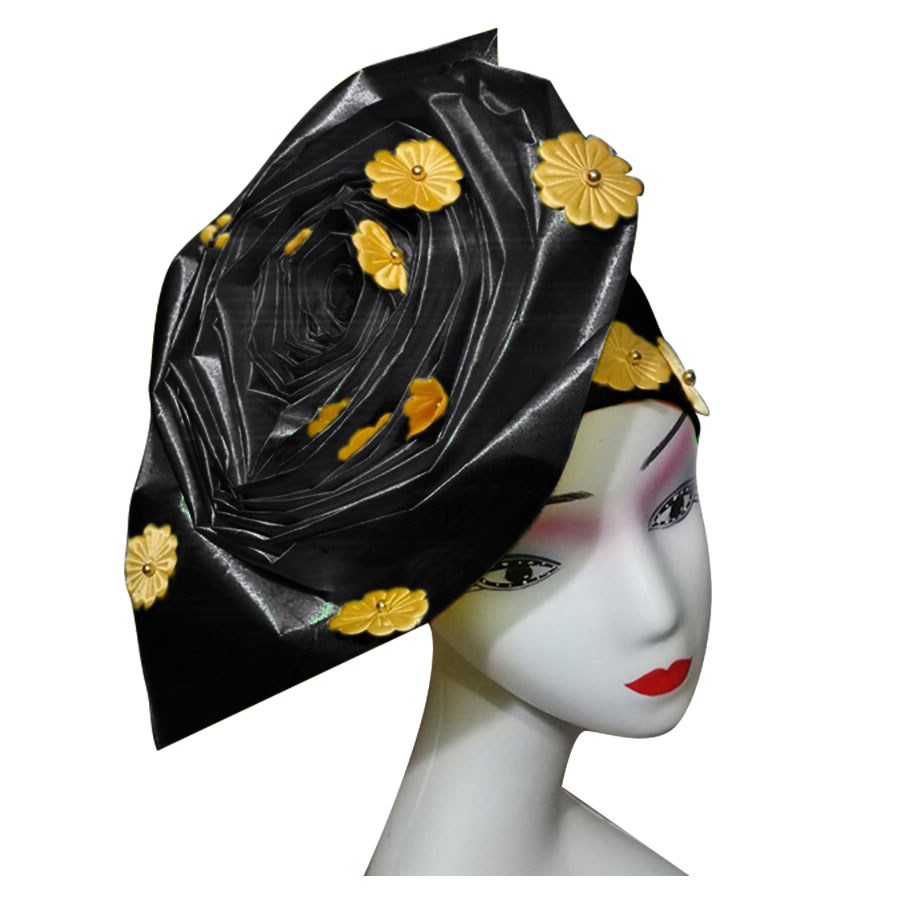 Auto gele nigerian gele headtie already made auto hele turban cap african aso ebi aso oke headtie 2018 (4)