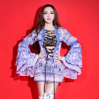 Chinese Style Women Stage Costume Fashion Printing Hollow Sexy Dresses Nightclub Singer One Piece Performance Dress Jazz Outfit