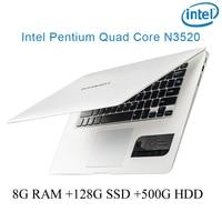 """עבור לבחור לבן 8G RAM 128g SSD 500G HDD Intel Pentium 14"""" N3520 מקלדת מחברת מחשב ניידת ושפת OS זמינה עבור לבחור (1)"""