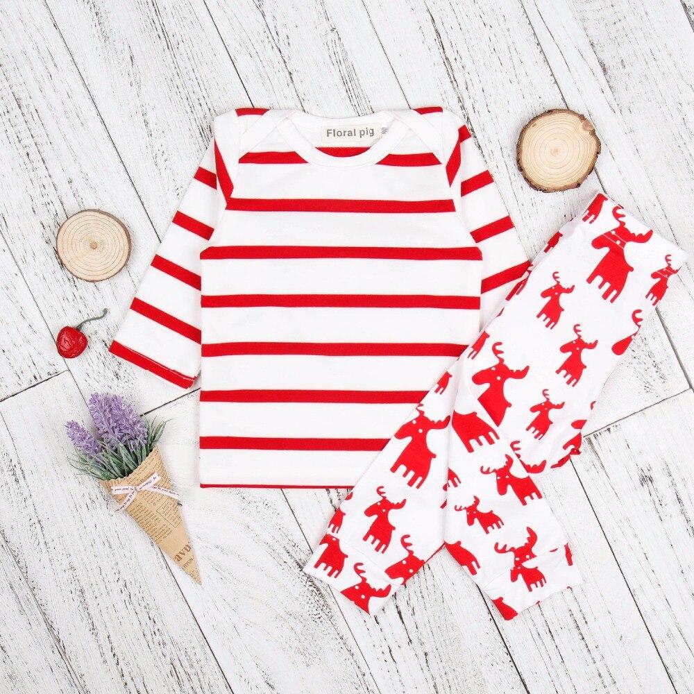 Best продаем 2018 Для детей белый красный полосатый топ с длинными рукавами Лось Штаны с рисунком Повседневное симпатичная одежда для девочек к...