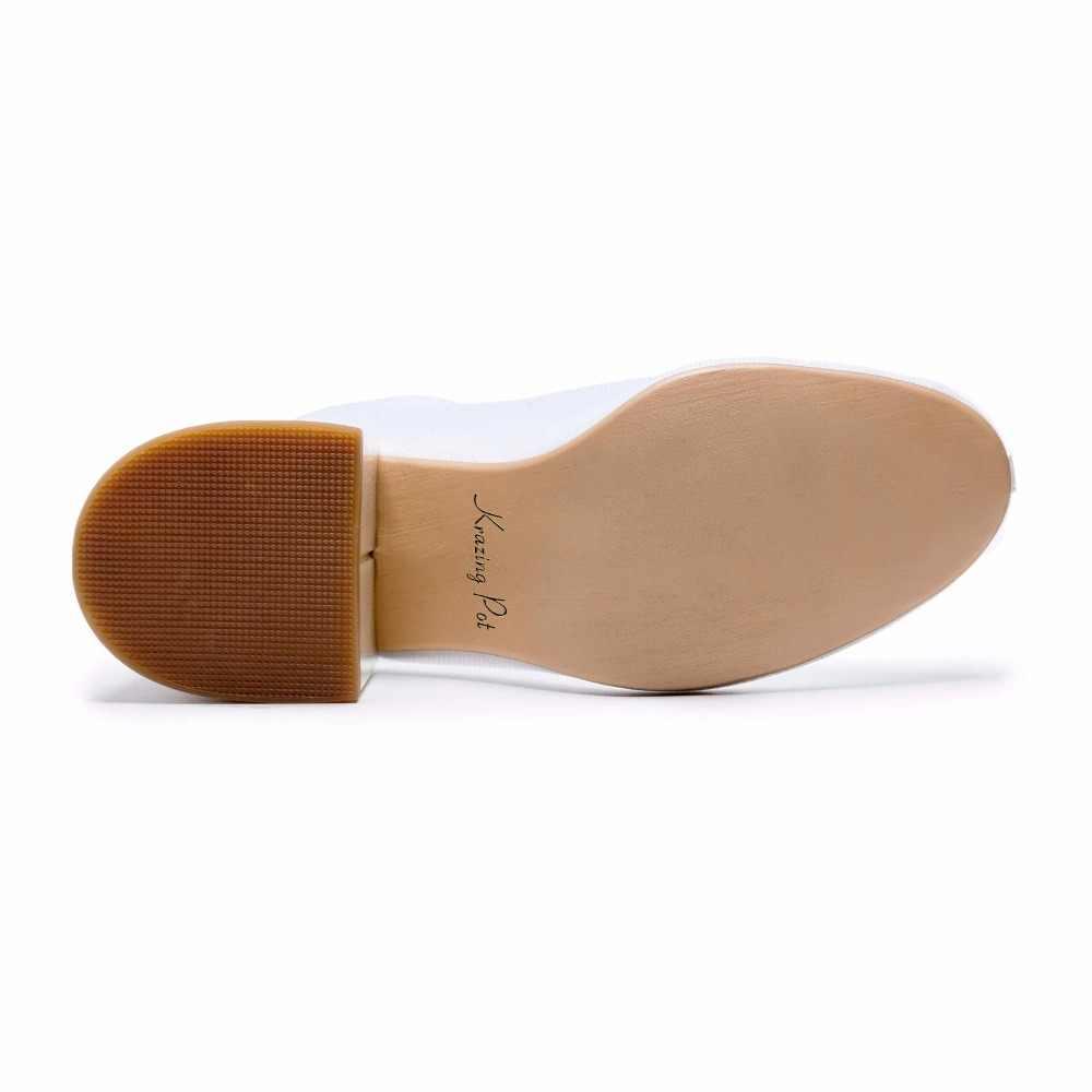 Krazing Pot 2018 sıcak satış hava örgü yüksek moda kadınlar yüksek topuklu ayakkabı yuvarlak ayak artı boyutu güneş koruyucu Sonbahar yarım çizmeler L19