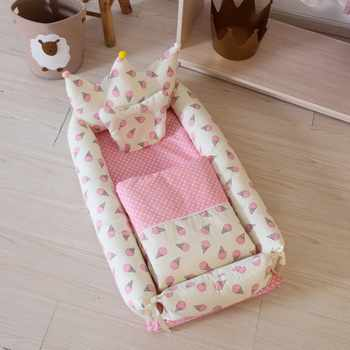 Newborn Crib Breathable and Sleep Nest with Pillow Baby Bedding for Bed Portable Baby Mattresses Cute