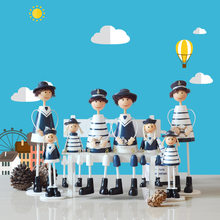 4pcs/set Mediterranean Style Family Naval Doll Resin Crafts Warm Home Decoration Christmas New Year Gifts(China)
