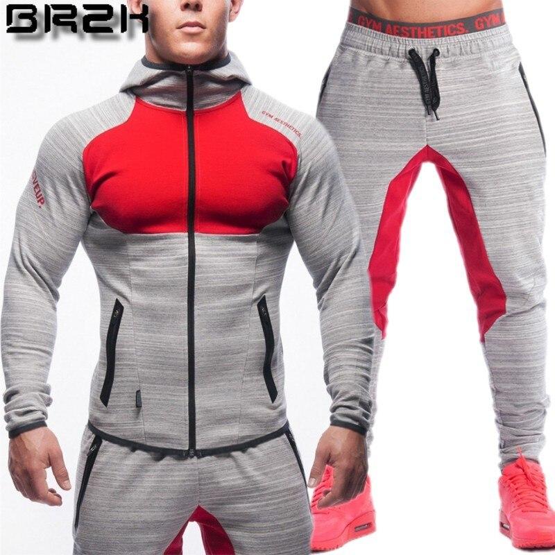2018 New Spring Men Sets Lined Sweatshirt + Pants Male Tracksuit Warm Sporting Suits Men's Sportswear 2 Piece Suit