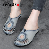 Summer leather cold drag, retro sandals, flat heel casual cow shoes, comfortable big code flat bottom Arts and women's shoes