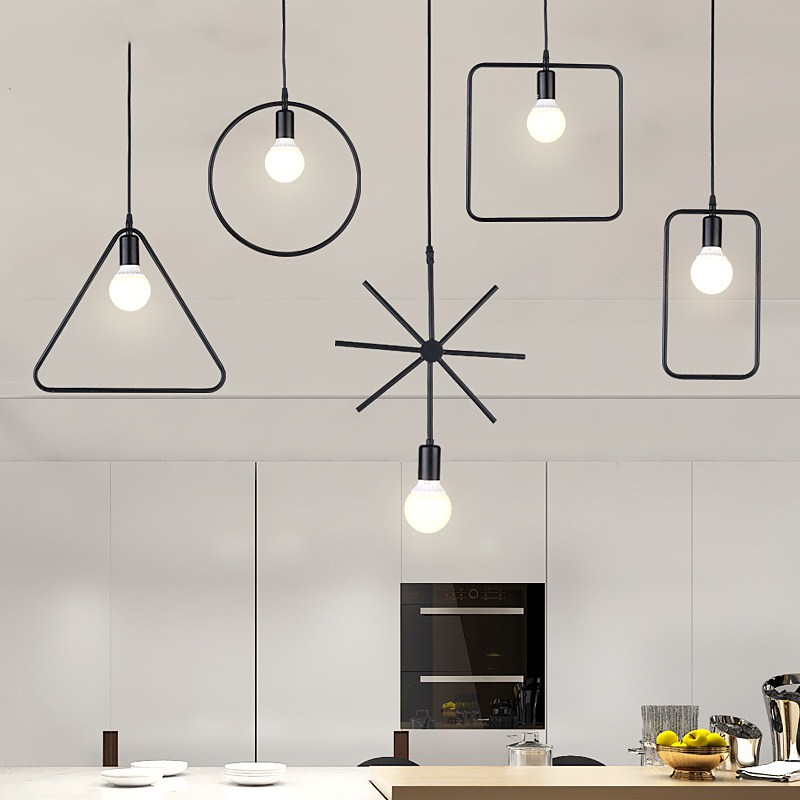 Vintage Pendant Lights Iron Black Pendant Lamp E27 For Kitchen living room suspension luminaires Home Lighting Light Fixture