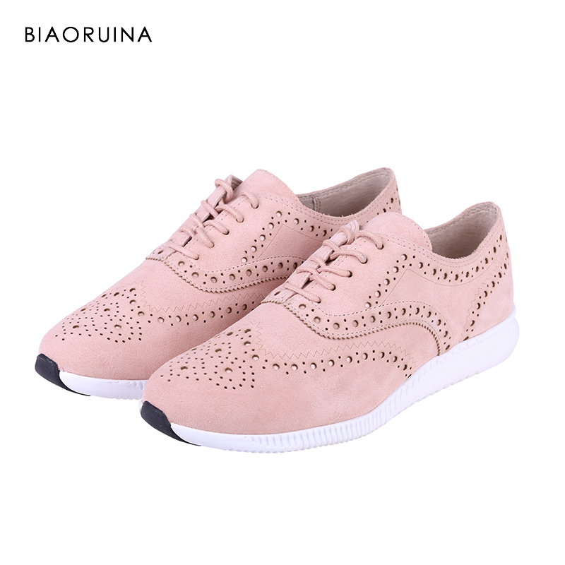 BIAORUINA Women Casual Shoes Brogue Style Women Fashion Sneakers Ladies Solid Cross tied Lace up Shoes