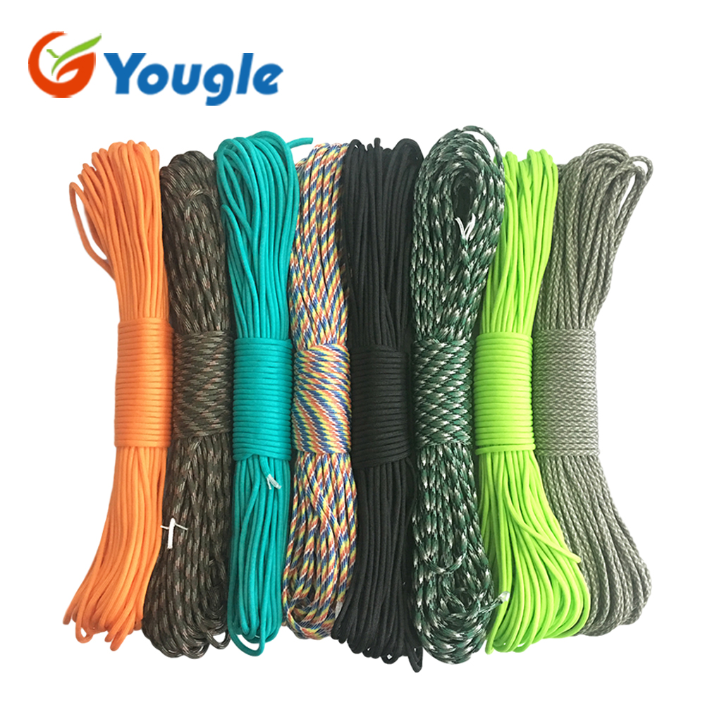 цена на YOUGLE 550 Paracord Parachute Cord Lanyard Tent Rope Guyline Mil Spec Type III 7 Strand 50FT 100FT For Hiking Camping 215 Colors
